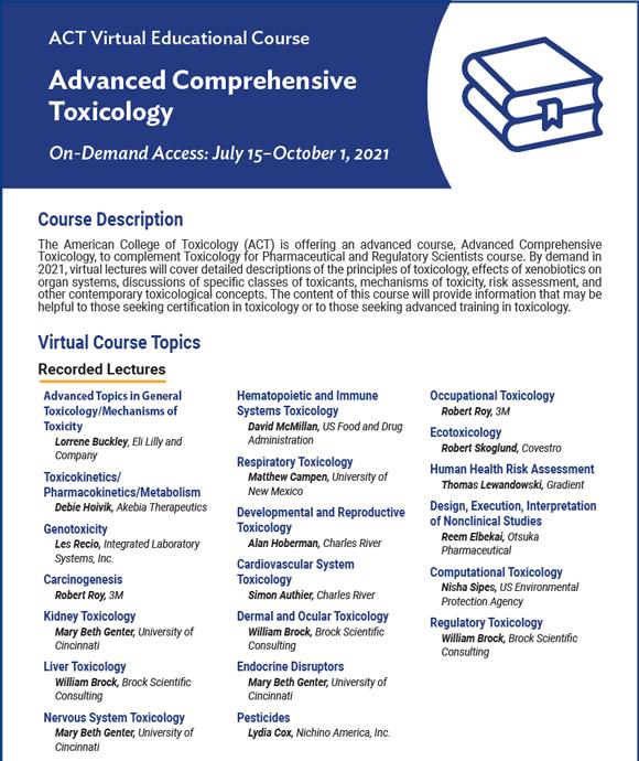 Advanced Comprehensive Toxicology Virtual Educational Course