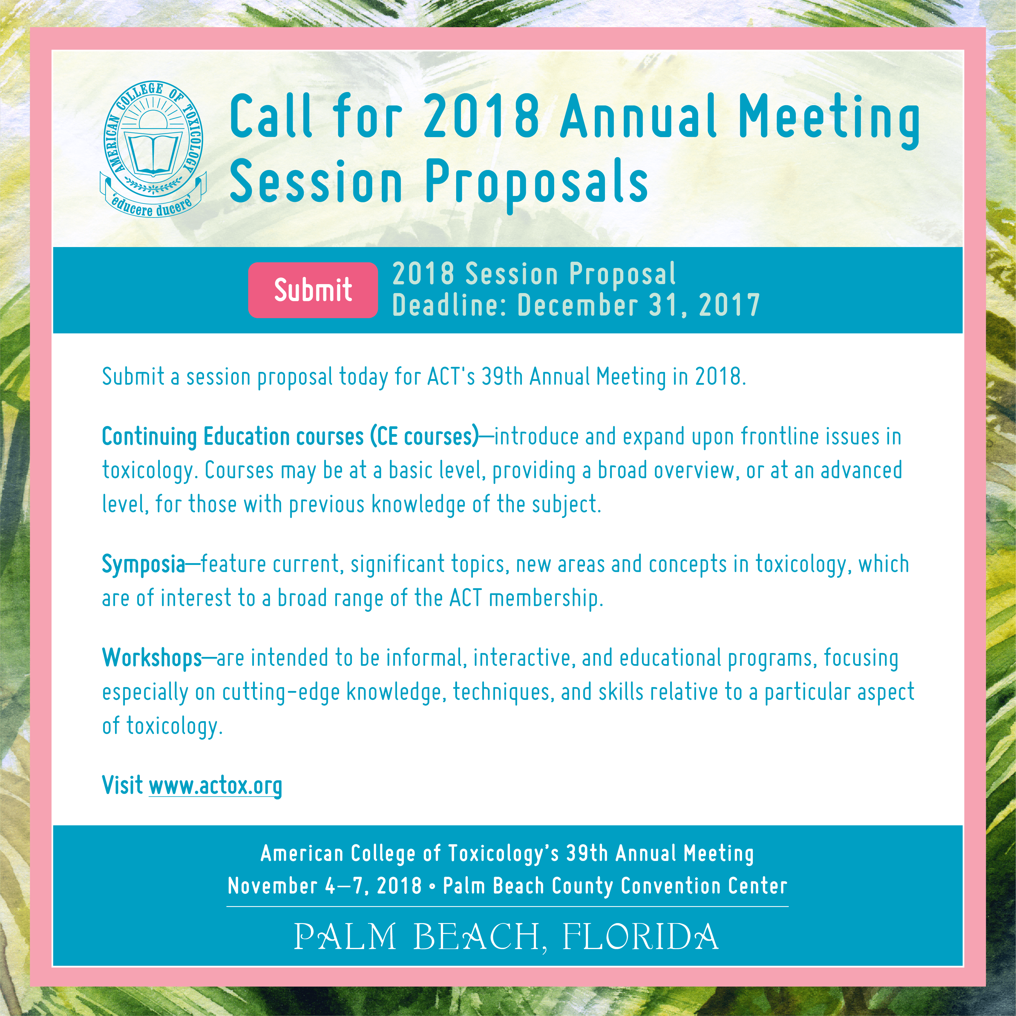 ACT 2018 Annual Meeting Session Proposal