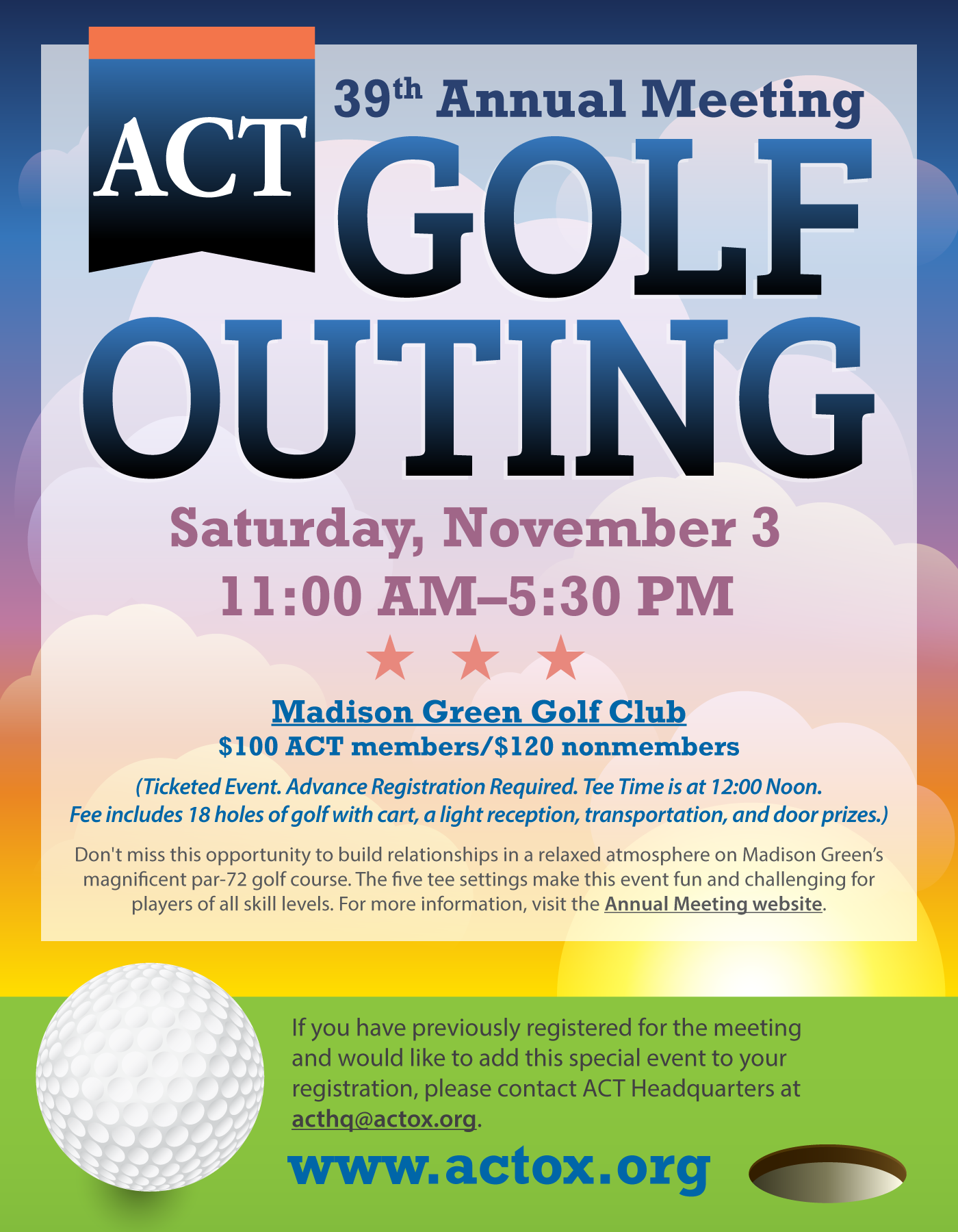 ACT 39th Annual Meeting - Golf Outing - Saturday, November 3, 2018 -